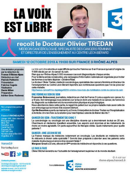 Samedi 12 octobre à 11h30 sur France 3 Rhône Alpes