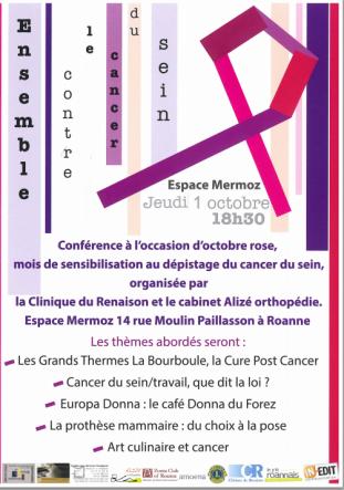 affiche octobre rose en Roannais